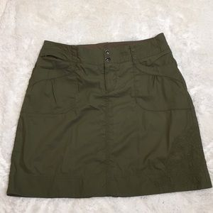 REI Army Green Embroidered Cargo Skirt